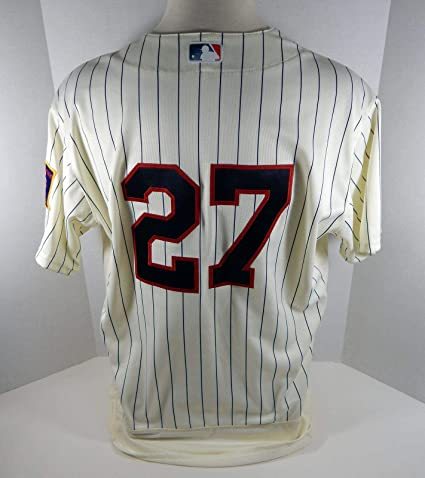 eca3cf09776 Image Unavailable. Image not available for. Color  2018 Minnesota Twins John  Curtiss  27 Game Issued Cream Jersey ...