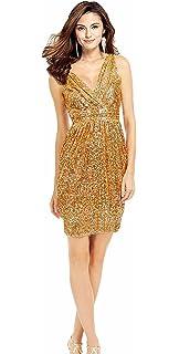Rong store Rongstore Womens Sheath V Neck Short Bridesmaid Dresses Sequin Prom Dress