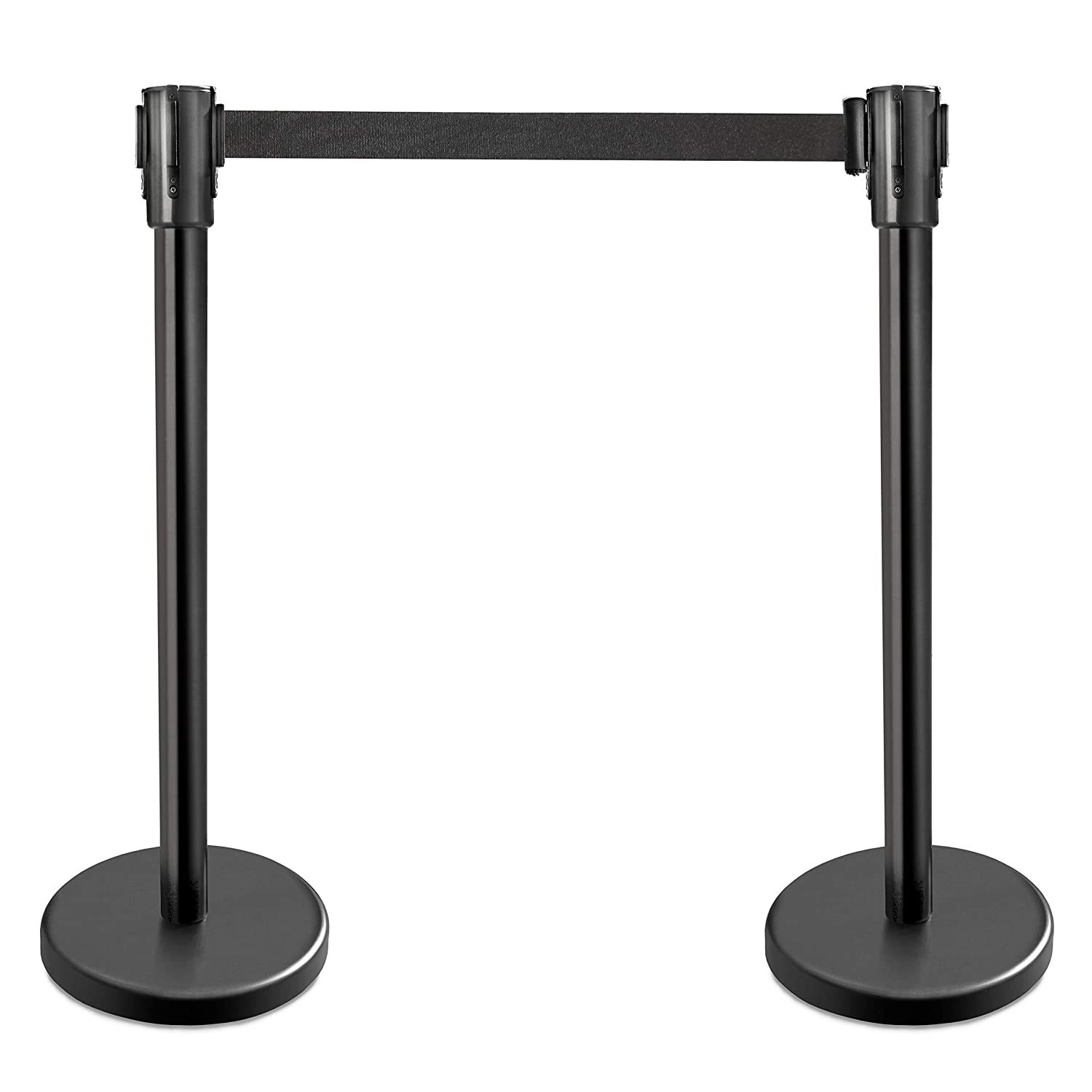 New Star Foodservice 54590 Stanchions, 36-Inch Height, 6.5-Foot Retractable Belt, Set of 2, Black