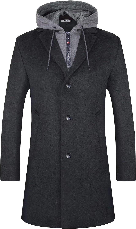 BOJIN Winter Trenchcoat f/ür Herren Slim Fit Wollmischung mit gekerbtem Kragen Warmer PEA Coat 1961