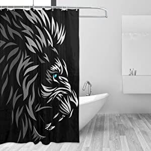 Shower Curtain for Bathroom Blue Eyes-Lion Shower Curtains Liner with Hooks Farmhouse Bath Machine Washable Bathtub Curtain for Guest Kids Room Window Accessories Set 60x72 Inch