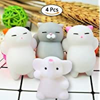 BRIDA Kids/Adults Squeeze Stress Reliever Squishy Toys XXS (3 Squishy Cats and Elephant)-Pack of 4