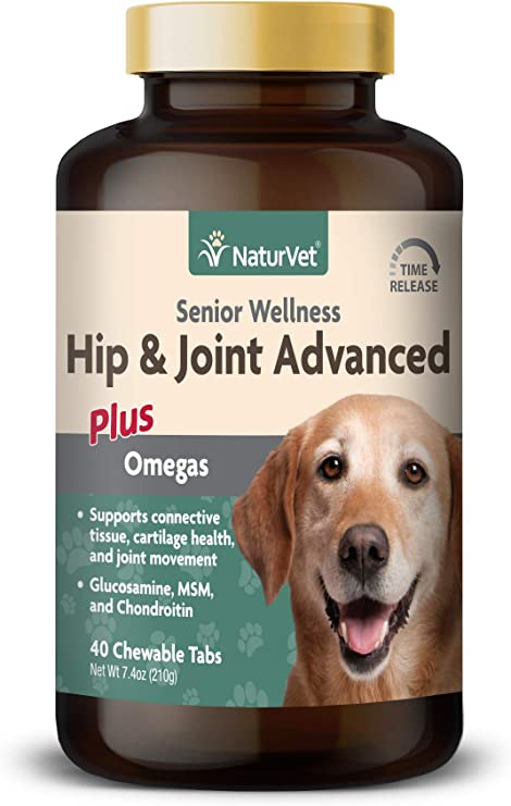 NaturVet Senior Wellness Hip and Joint Plus Omegas Advanced Supplement for Dogs, Chewable Tablets Time Release, Made in the USA