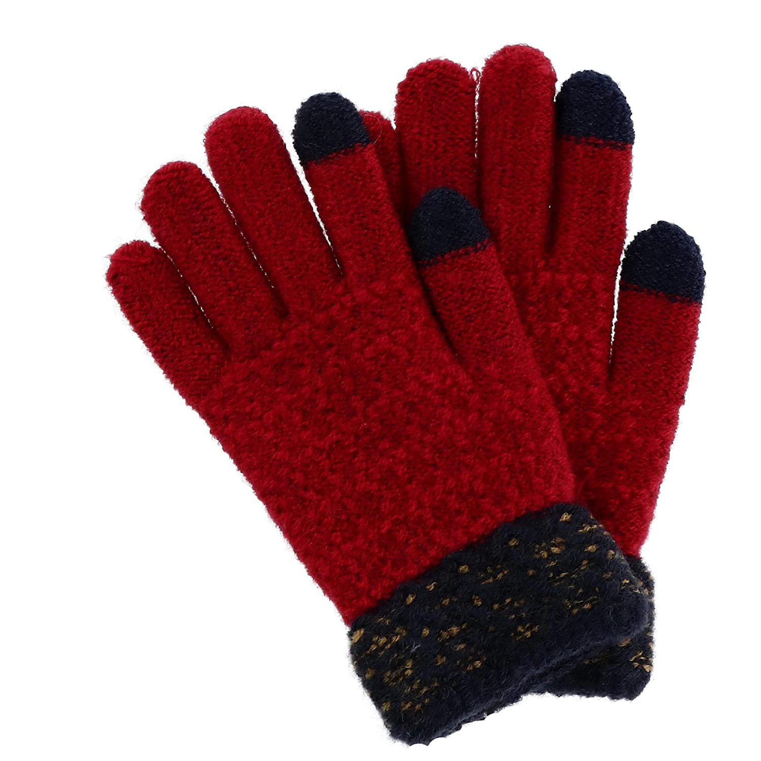 Foemo Junior Girl's Two-Tone Knit Winter Gloves, Black