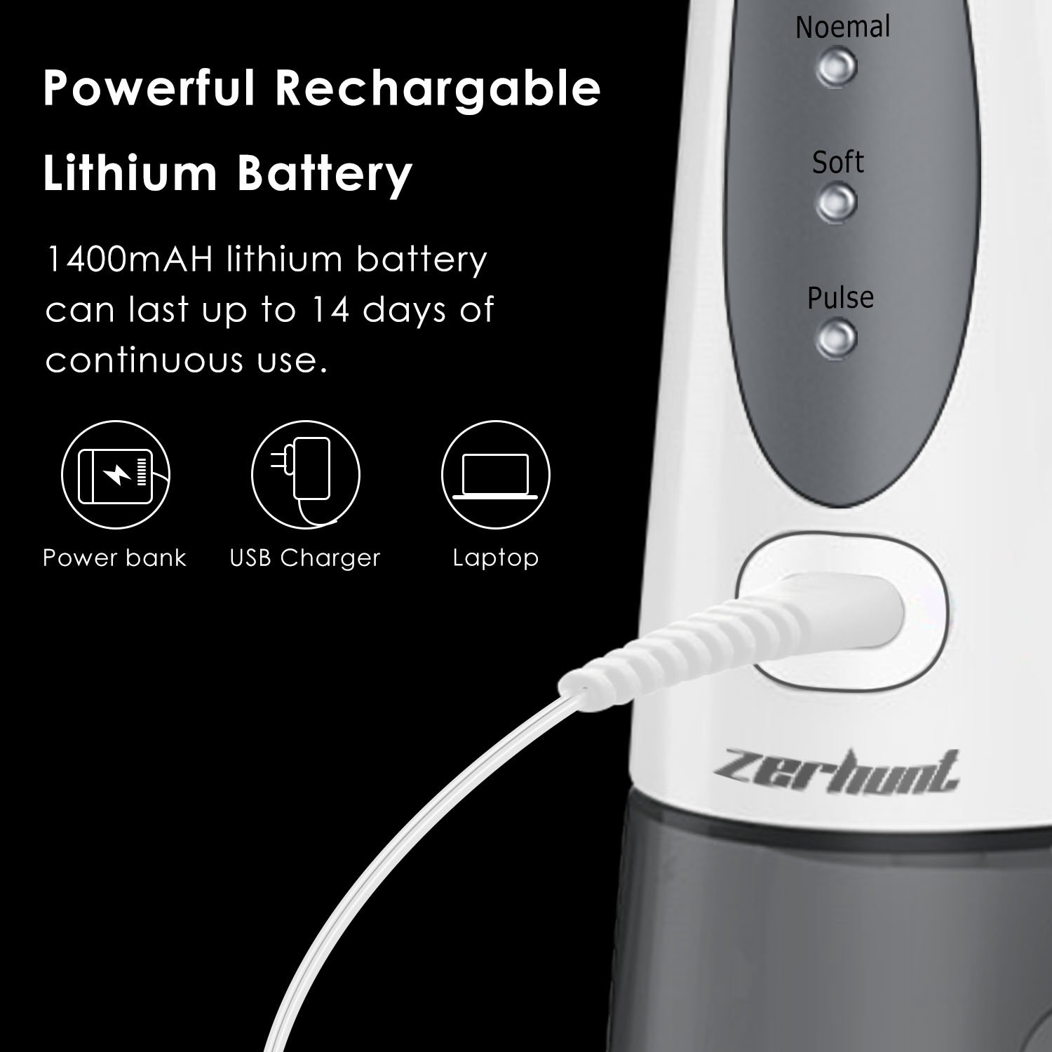 [2018 UPGRADED] Cordless Water Flosser Oral Irrigator - Zerhunt Professional Rechargable Portable Dental Water Jet With 3 Jet Tips For Braces and Teeth Whitening,Travel and Home Use by Zerhunt (Image #6)