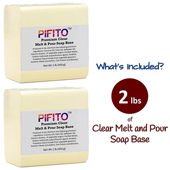Pifito Premium Clear Melt and Pour Soap Base /(2 lb/) - 100/% Natural Glycerin  Soap Base - Luxurious Soap Making Supplies 4336900445 Christmas gift ideas