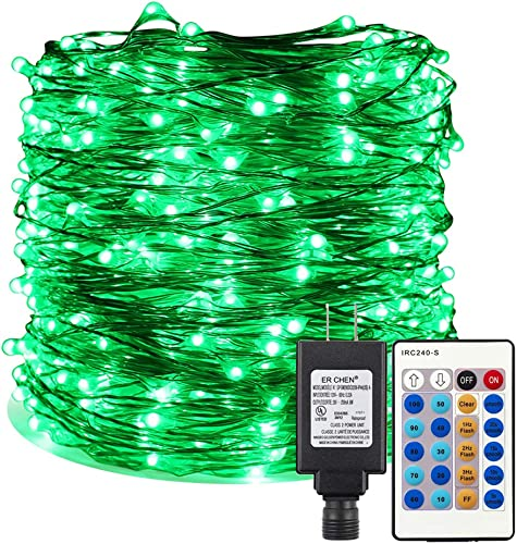 ER CHEN Dimmable Fairy Lights Plug in, 165ft 500 LED Super-Long Silver Coated Copper Wire String Lights with Remote, Outdoor Indoor Xmas Decorative Lights for Bedroom, Patio, Garden, Party-Green