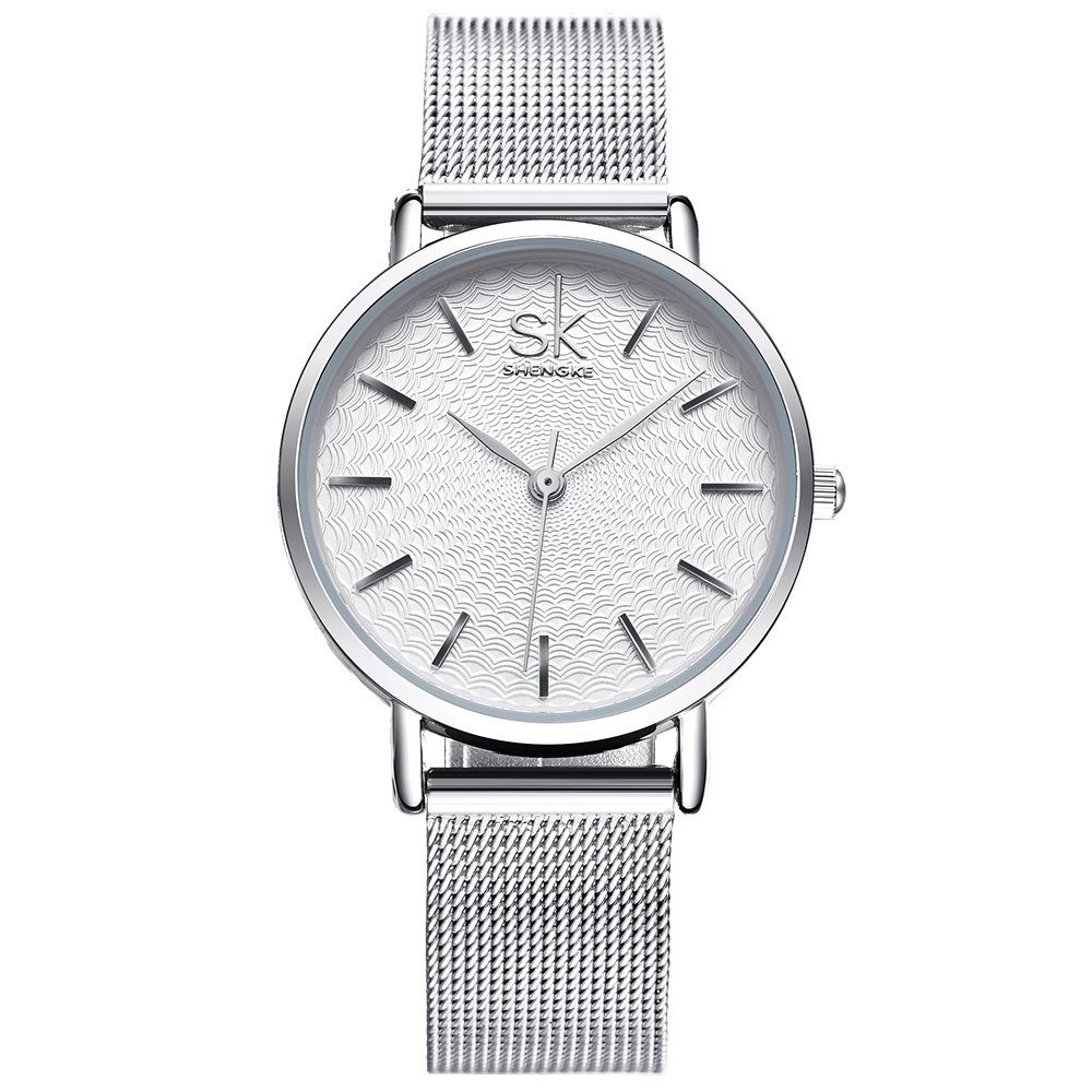 SK Simple Watches Waterproof Analog Mesh Watches for Women Stainless Steel Band reloj de Mujer