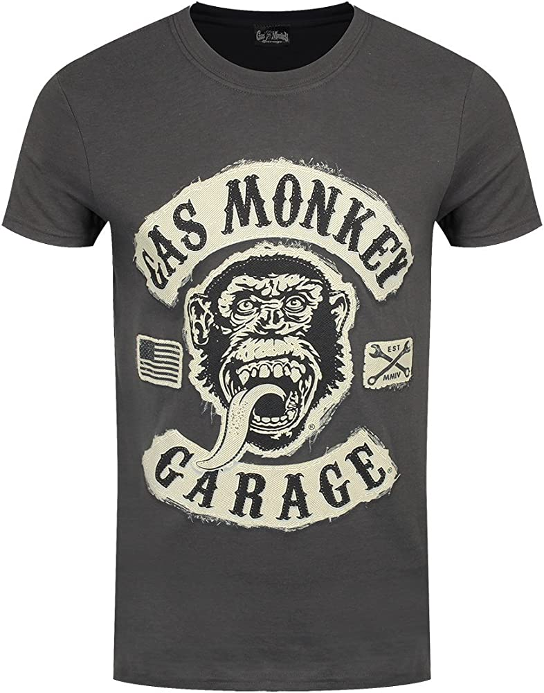 Gas Monkey Garage - Camisa Casual - para Hombre Negro Gris Oscuro L: Amazon.es: Ropa y accesorios