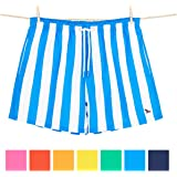 Mens Swimming Shorts Swim Trunks - Quick Dry Board Shorts for Men - 7 colours in Cabana Striped design. Made from 100% recycled water bottles