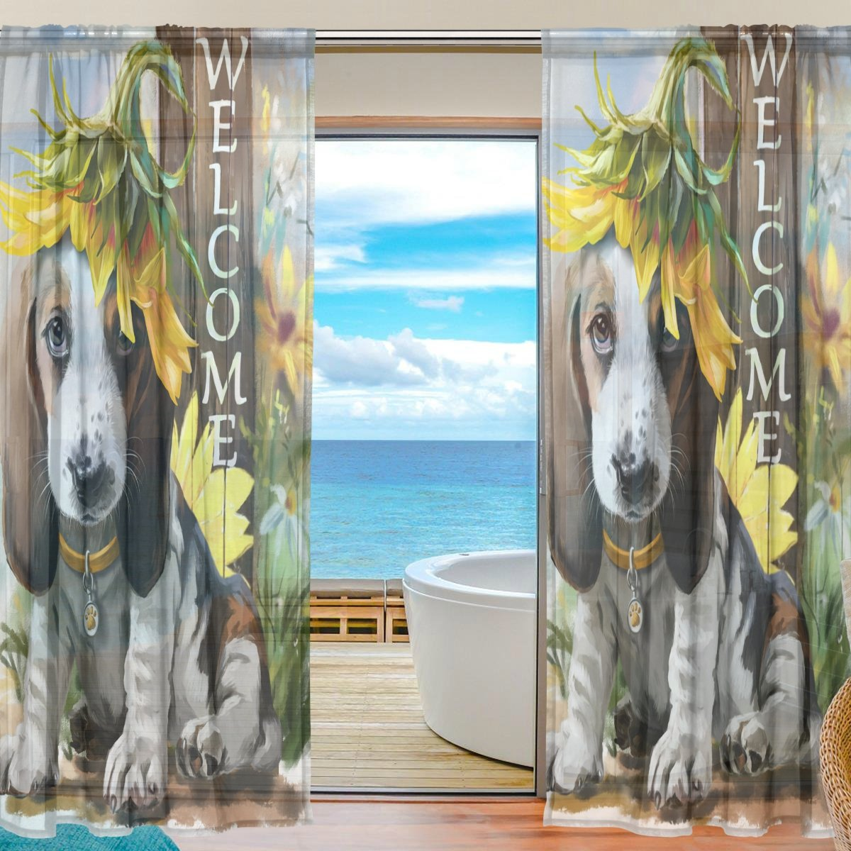 SEULIFE Window Sheer Curtain, Welcome Animal Dog Sunflower Voile Curtain Drapes for Door Kitchen Living Room Bedroom 55x84 inches 2 Panels