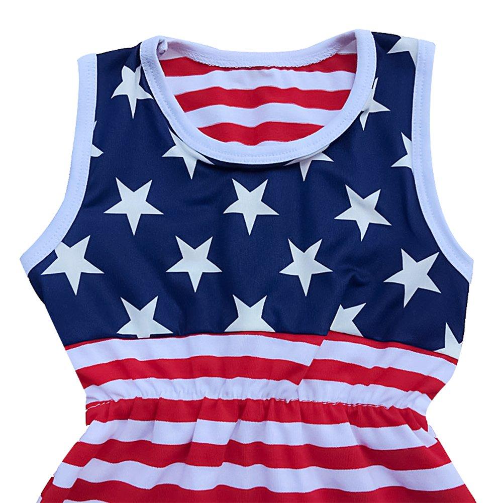 Baby Girls Stars Stripes American Flag Romper Headband Patriotic Outfit 2PCS Set