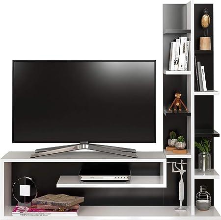 Glory Mueble salón Comedor para televisión - Blanco/Negro - Mueble bajo para televisor - Mesa de Televisión en diseño Elegante: Amazon.es: Hogar
