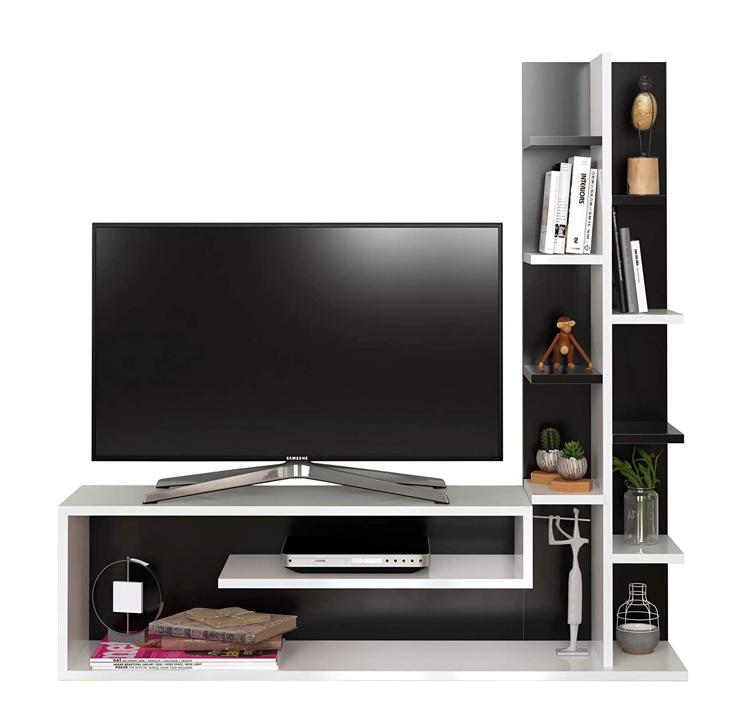 GLORY Wall Unit - White / Avola - Living room set / TV Lowboard / TV Stand with shelving unit in stylish design Homidea