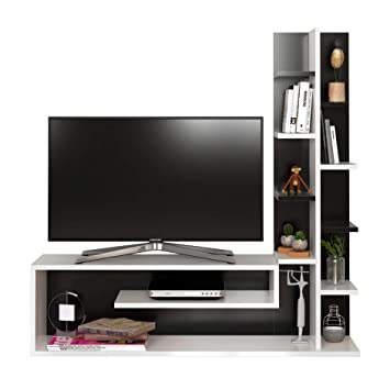 Glory Wall Unit White Black Tv Lowboard Set Tv Amazon Co Uk
