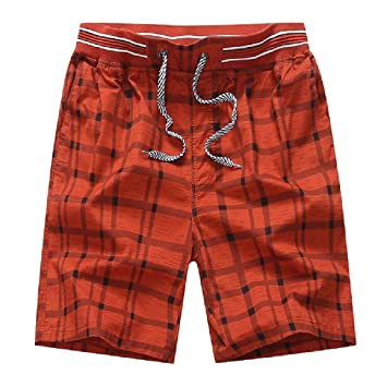 Summer Casual Athletic Sports Lattice Print Drawstring Loose Beach Short Pants Trunks 4XL Mens Shorts Big /& Tall Plus Size