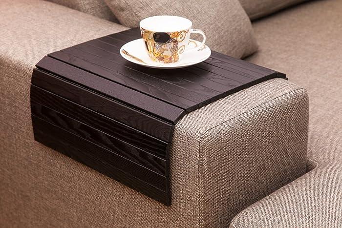 Amazon Com Black Sofa Side Tray Table Wood Armrest Tray Sofa