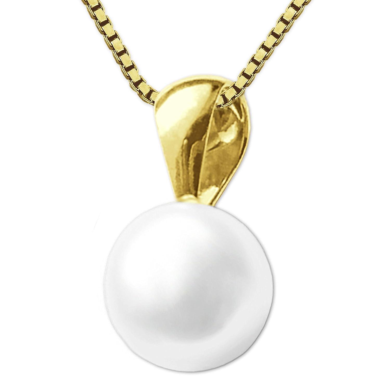 91bd6fb5f85f Clever joyas dorado colgante pequeñas perlas agua dulce Diámetro 6 mm con cadena  oro 333 8 quilates Dorado Venezia 42 cm  Amazon.es  Joyería