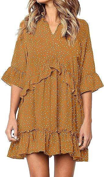 Vestido para mujer de verano, estilo casual vintage, de lunares ...
