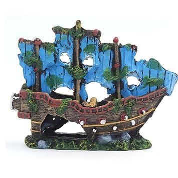 El pirata barcos en acuarios, Kaiki tanque de peces adorno de acuario naufragio barco Hundido buque Destroyer Decor: Amazon.es: Productos para mascotas