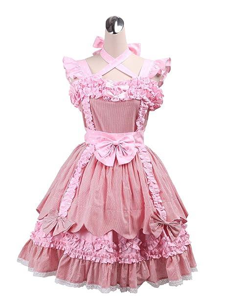 antaina Vestido de Cosplay de Lolita Victoriana de encaje rosa con volantes bowknot de algodón,