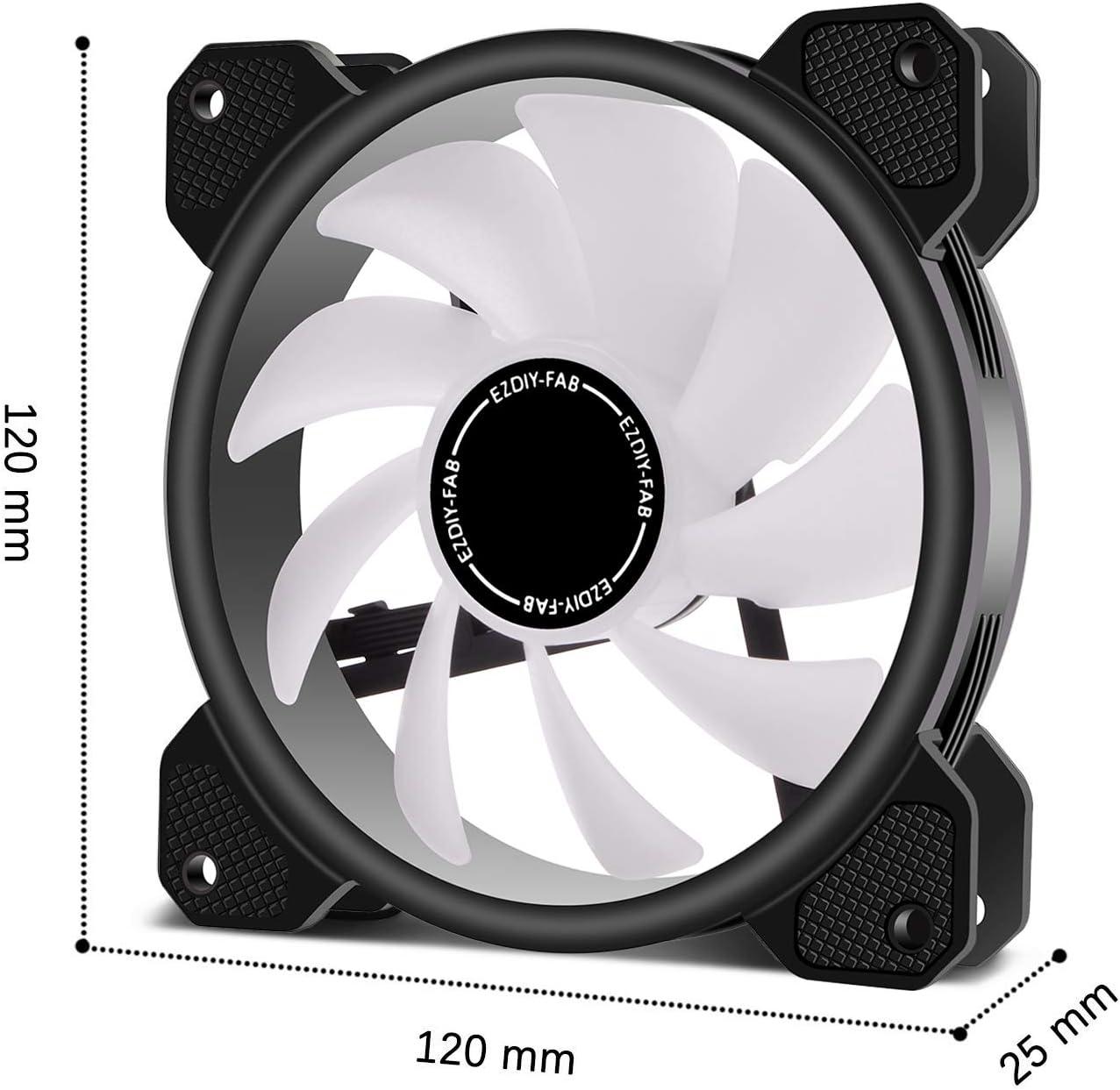 EZDIY-FAB 5 Pack-120mm Ventilador RGB LED para Estuches para PC, Ventilador de refrigeración de la CPU, Ventilador de refrigeración de Agua, Ventilador de Caja RGB direccionable con Controlador: Amazon.es: Electrónica