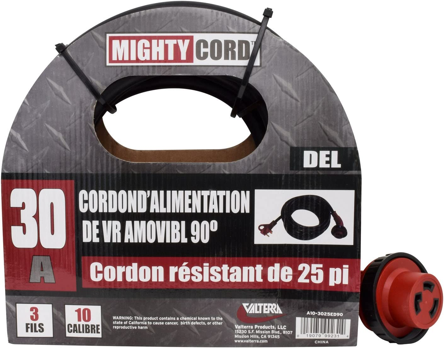 25-Foot Cord for RV Valterra Mighty Cord RV 50-Amp 90-Degree Detachable Power Cord Red
