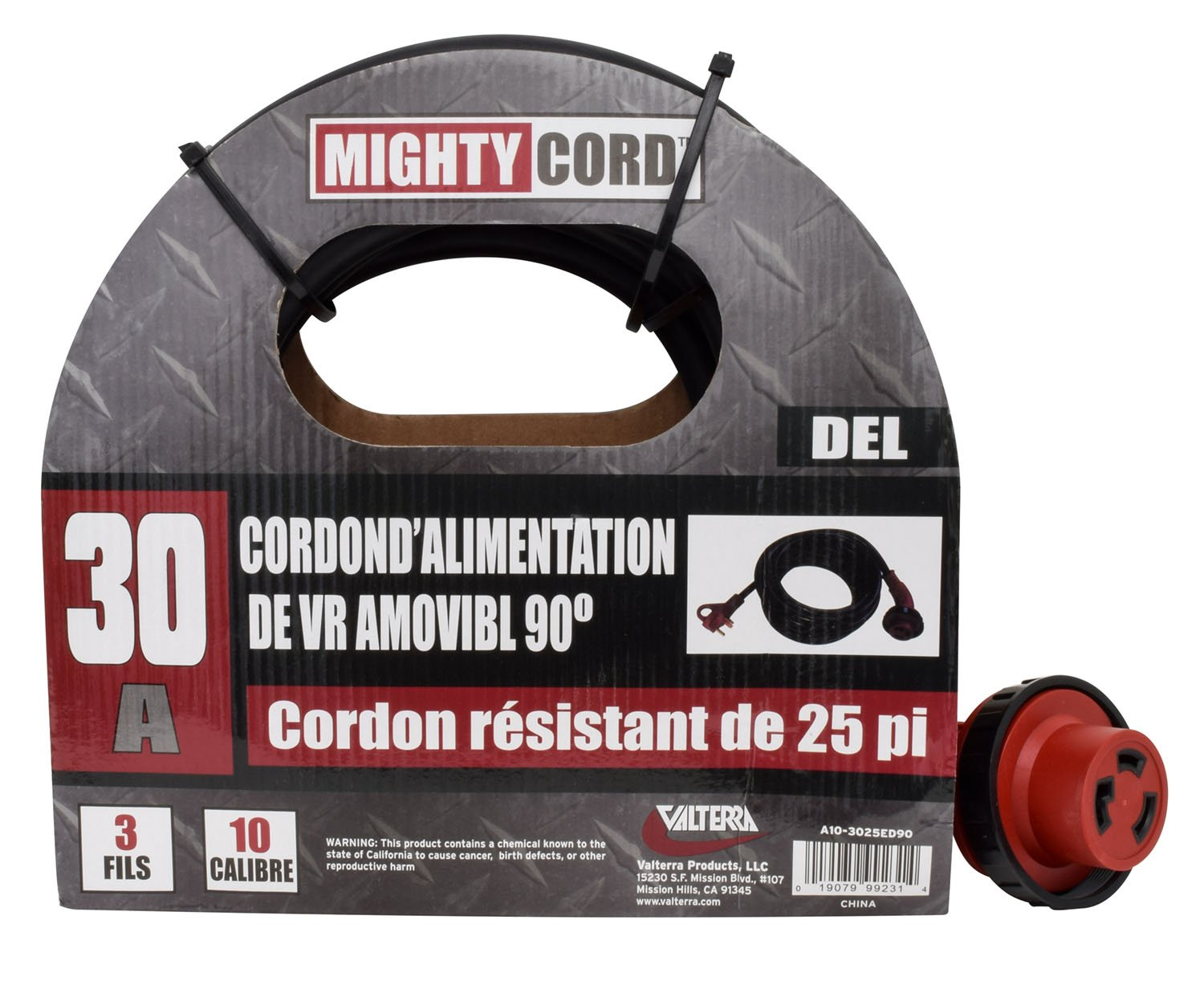 Red Valterra Mighty Cord/® RV 30-Amp 90-Degree Detachable Power Cord 25-Foot Cord for RV