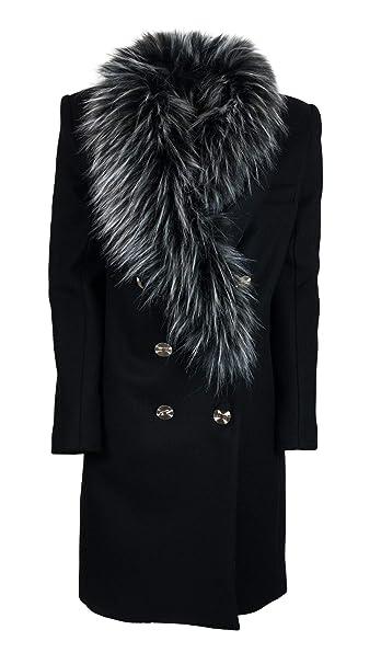 Elisabetta Franchi Cappotto Donna CP00477E2110 Lana Nero  Amazon.it   Abbigliamento 55ba09b815cb