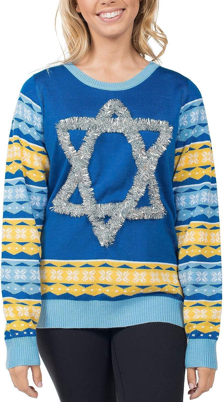 Tipsy Elves Women's Tacky Ugly Hanukkah Sweater Star of David Chanuka Sweater