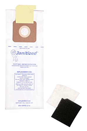 Janitized JAN-CMPRO-2(10) Paper Premium Replacement Commercial Vacuum Bag for CleanMax Standard & Pro, Tennant V-SMU-14, Tornado CK QD & Pro, ...
