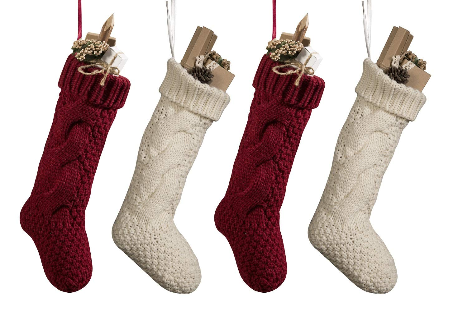 Pack 4, Unique Burgundy and Ivory White Knit Christmas Stockings 14''
