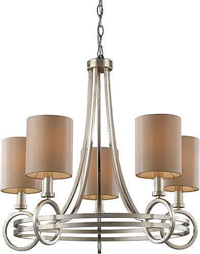 TRUMP HOME 31006 5 Elknew York 5-Light Chandelier, 24 x 24 x 24 , Renaissance Silver