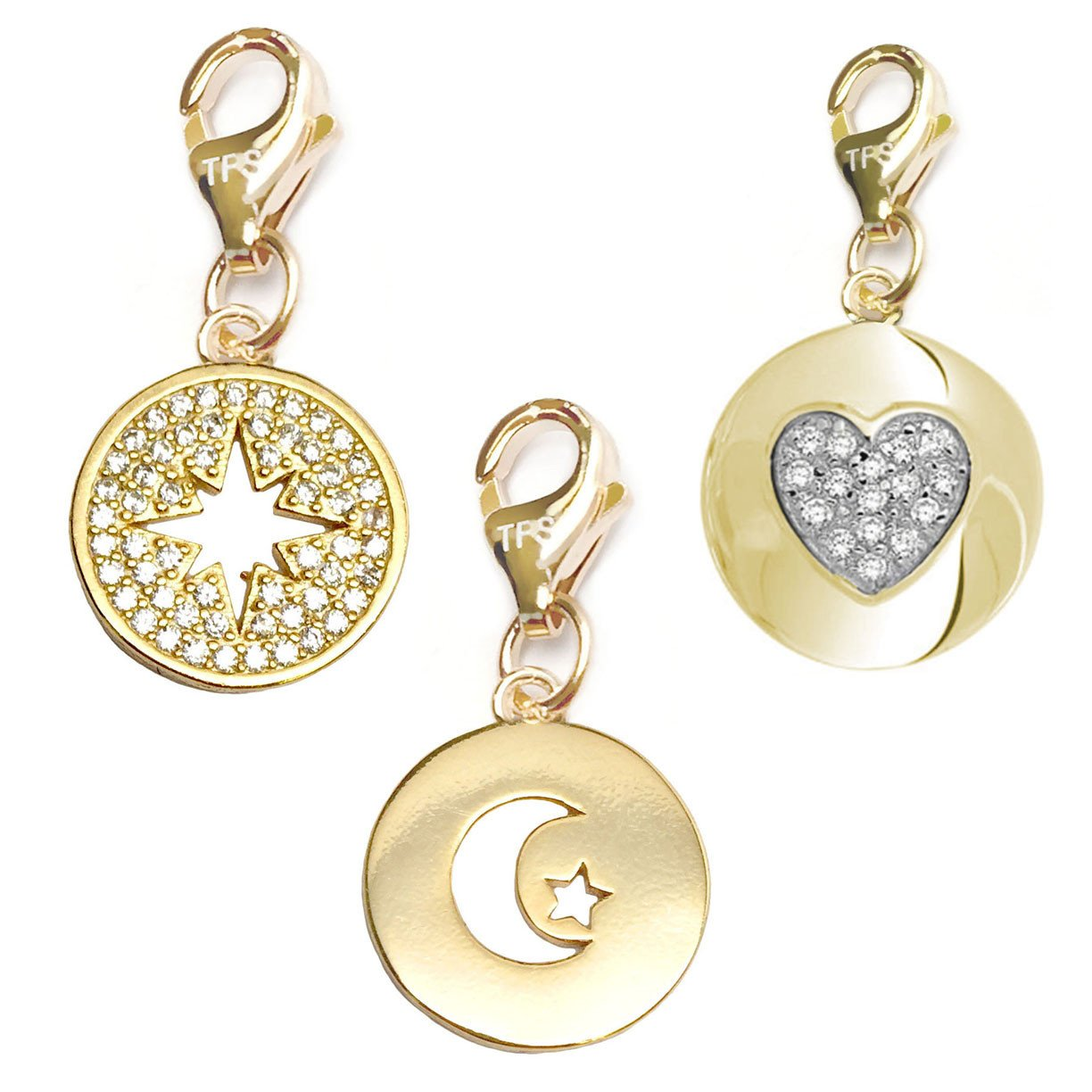 Starburst Heart Disc 14k Gold Over Brass Clip-On Charm Set TFS Jewelry Moon /& Star Disc