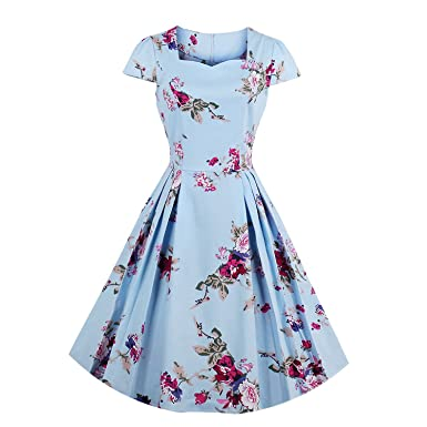 Summer-lavender Floral Print Vintage Dress Women Hepburn 50s Rockabilly Short Sleeve Cotton Party Dresses Tunic Vestidos at Amazon Womens Clothing store: