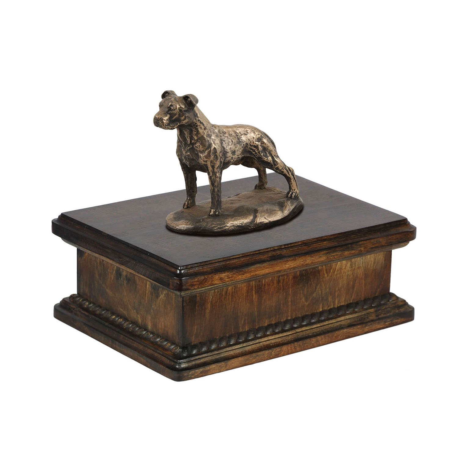 American Staffordshire Terrier (uncropped), memorial, urn for dog's ashes, with dog statue, exclusive, ArtDog