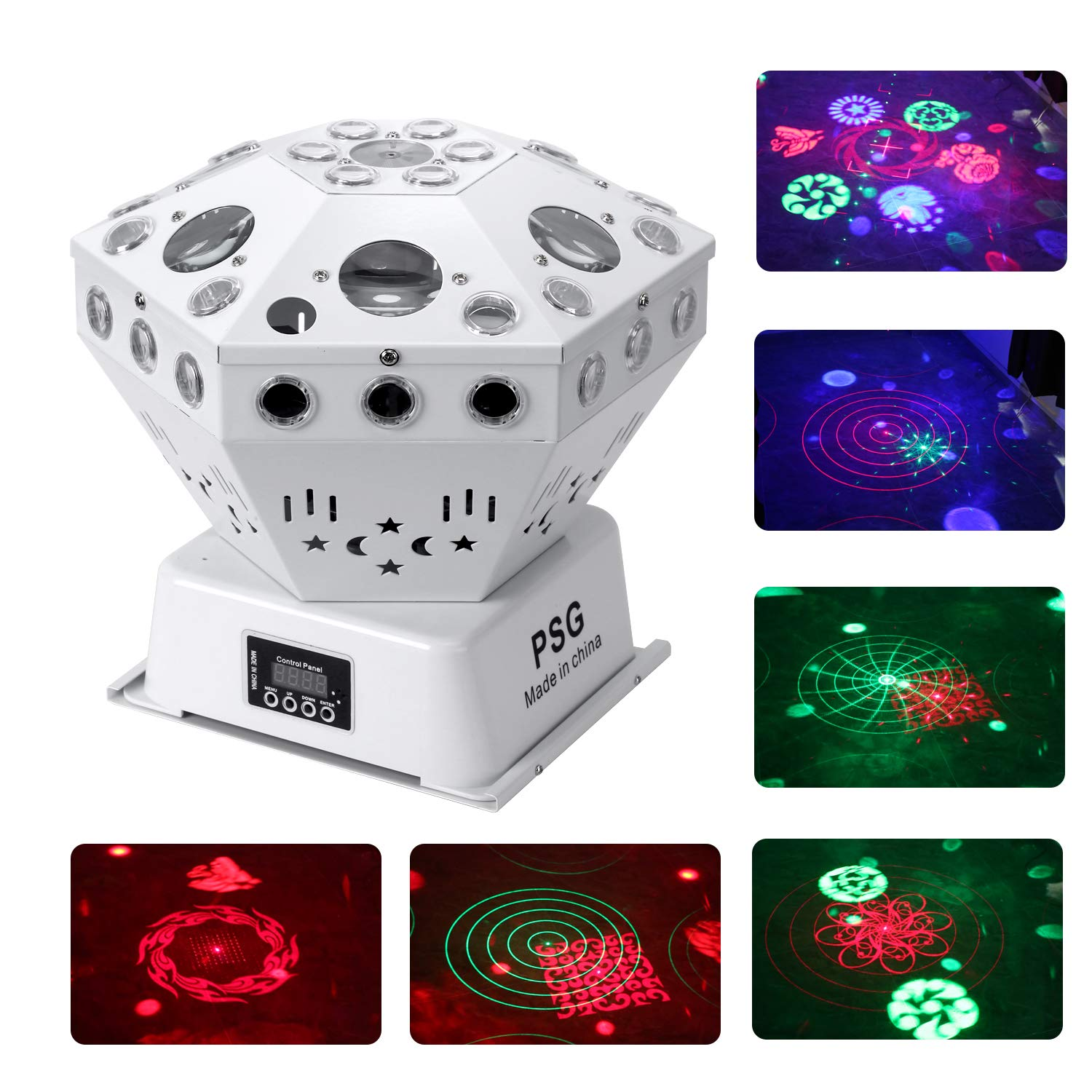 Stage Lights, Sound Activated RGB Party Lights DJ Lighting, 63 LED bar Lights and DMX Control for Church, Wedding, Stage Lighting Birthday Party(need an adapter) (Laser and Pattern) by PSG
