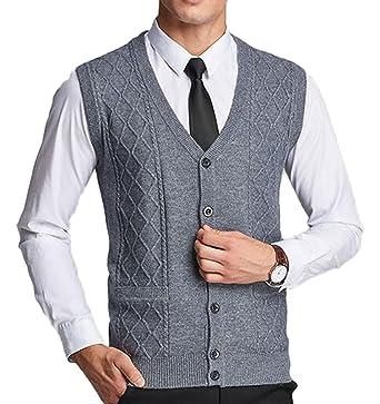 3b21ea4d467e1 UP Pull sans Manches avec Boutons col V Homme pour Cardigan avec Poches   Amazon.fr  Vêtements et accessoires