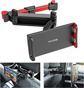 "Car Headrest Tablet Mount - Tryone Stretchable Tablet Headrest Holder Compatible with Smartphones/Tablets/Switch 4""-10.6"", Headrest Posts Width 4.7in-5.9in(Red)"