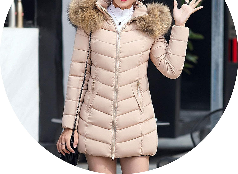 Hooded Fur Collar Winter Down Coat Jacket Long Thick Warm Women Student Wadded Parkas 09,Khaki,4XL