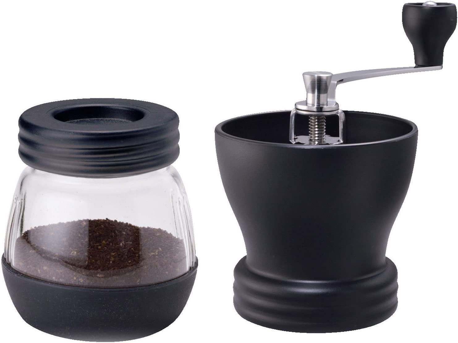 Molinillo de caf/é Manual Mecanismo de cer/ámica y Recipiente Extra con Pincel, Ajustable Black Drop