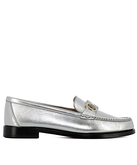 Salvatore Ferragamo Mujer 693736 Plata Cuero Mocasín: Amazon.es: Zapatos y complementos