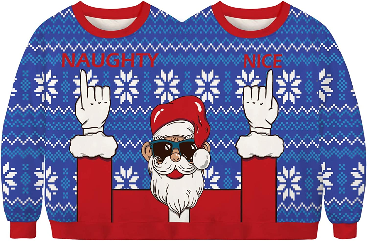 URVIP Unisex 3D Print Realistic Casual Christmas Two-Person Pullover Sweatshirt