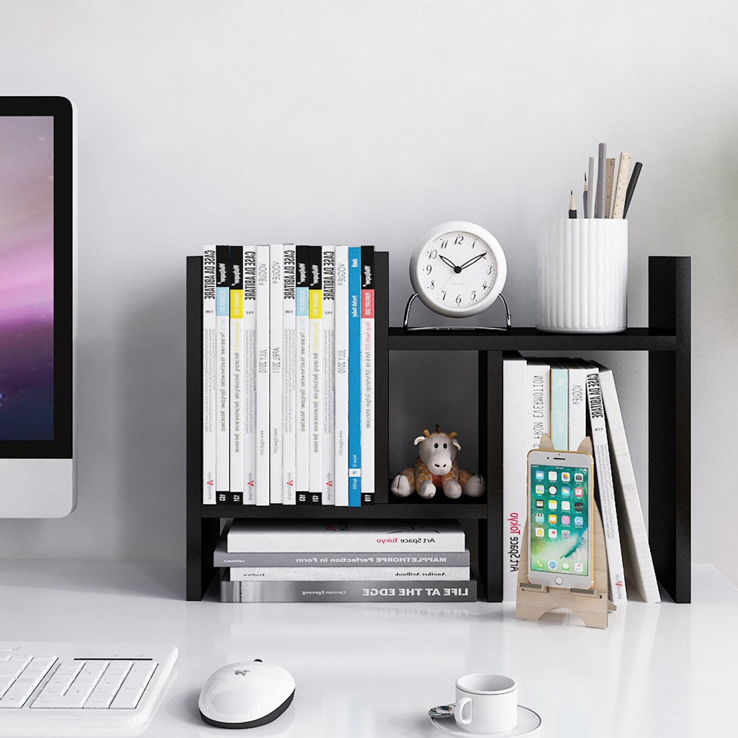 Jerry & Maggie - Desktop Organizer Office Storage Rack Adjustable Wood Display Shelf - Free Style Double H Display - True Natural Stand Shelf - Black by Jerry & Maggie