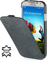 Custodia esclusiva Stilgut UltraSlim in pelle per Samsung Galaxy S4 i9500 e i9505 - Old Style Grigio scuro
