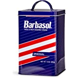Jurassic Park Barbasol Tin Storage Canister With Lid - Roomy 6-Inch x 4-Inch Blue, Red & White Striped Metal Container - Coll