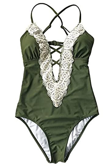 c269afe5f37 NYKKOLA Solid Lace Crochet Deep V Neck One Piece Swimsuit With Back Cutout  Bikini Set Swimwear