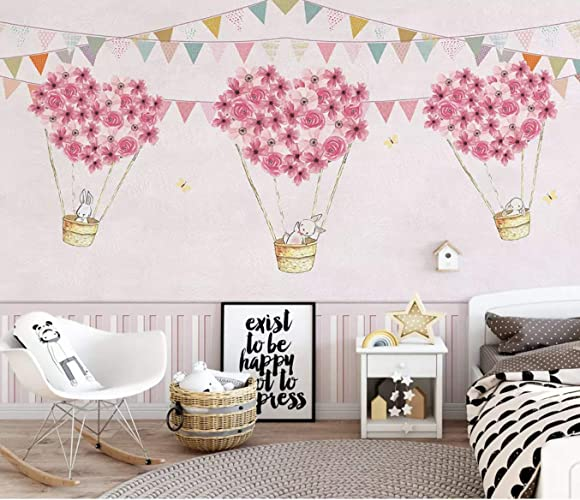 Amazon Com Murwall Nursery Wallpaper For Kids Pink Hot Air