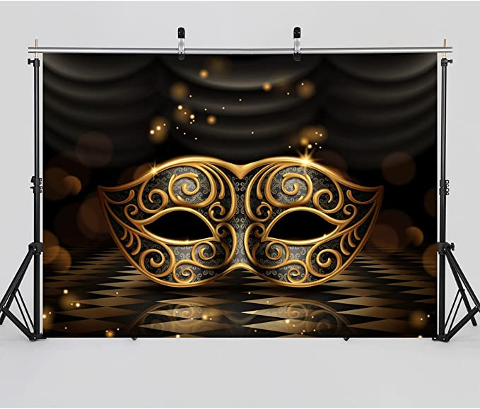 PHMOJEN Gold and Silver Masks Backdrop,10x7ft Cotton Cloth with Pole Pocket,Mardi Gras Masquerade Party Background,Violet Banner,Photo Studio Props MLYPH1457