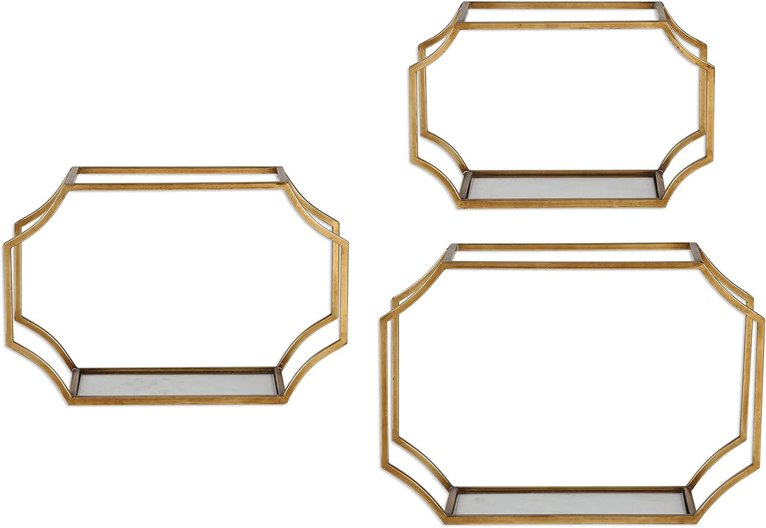 MY SWANKY HOME Open Gold Metal Glass Wall Shelf Set 3| Hanging Shelves Frames Contemporary Sculpted 71Ty8Ine19LSL1500_